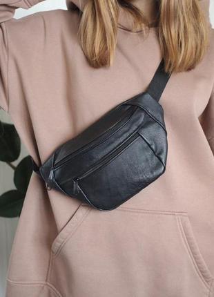 Стильная бананка сумка из натуральной кожи, вместительная, слинг черная кожа б20