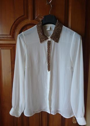 Полиэстер молочная блузка с бисером р-р l