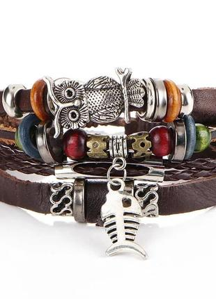 Стильный кожаный браслет, из 5 ярусов. мужской / женский