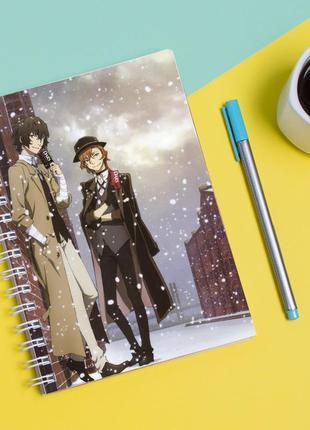 """Скетчбук (sketchbook) для рисования с принтом """"bungou stray dogs - бродячие псы 2"""""""