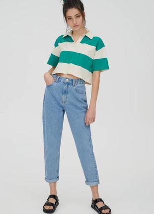 Голубые винтажные джинсы джинси мом мам mom fit pull&bear2 фото