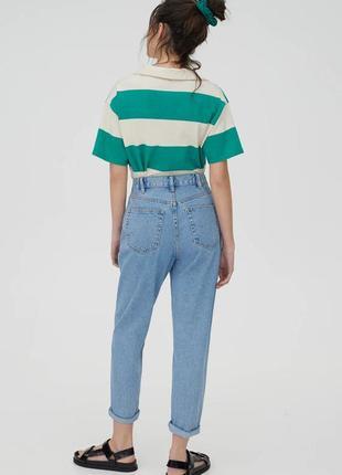 Голубые винтажные джинсы джинси мом мам mom fit pull&bear4 фото