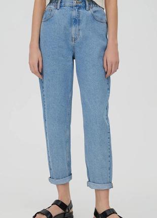 Голубые винтажные джинсы джинси мом мам mom fit pull&bear3 фото