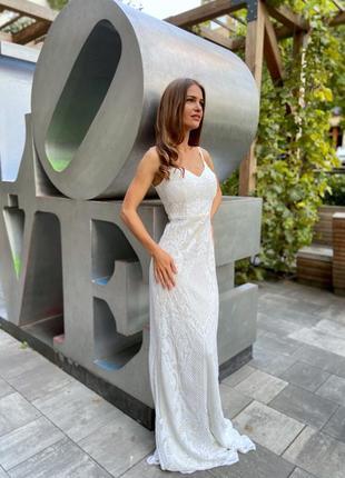 Новое свадебное платье в пайэтках