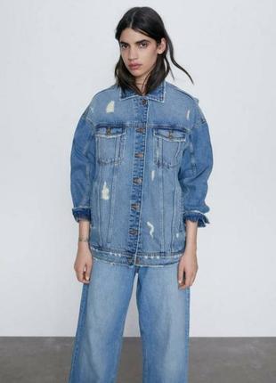 Джинсовая куртка оверсайз пиджак бойфренд винтаж джинсовка