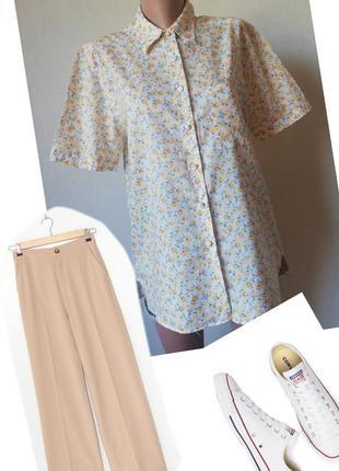 Сорочка квітковий принт. рубашка   коротким рукавом. ніжна хлопкова сорочка