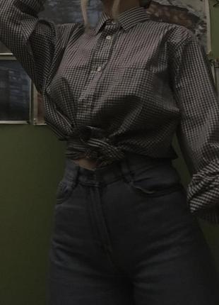 Рубашка в клетку оверсайз( унисекс) базовая3 фото