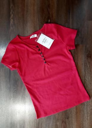 Женская футболка трикотаж- рубчик с пуговицами