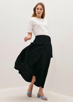 Чёрная ассиметричная юбка на запах. юбка для танцев и не только
