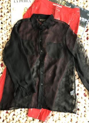 Прозрачная чёрная рубашка