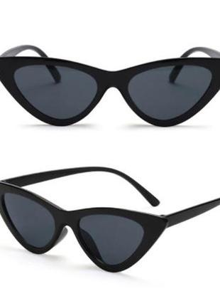 Очки окуляри черные темные солнцезащитные кошачий глаз кошки лисички cat eye7 фото