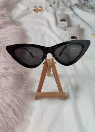 Очки окуляри черные темные солнцезащитные кошачий глаз кошки лисички cat eye10 фото