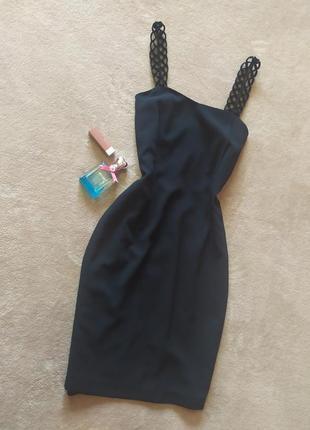 Базовое качесвтенное чёрное платье футляр миди