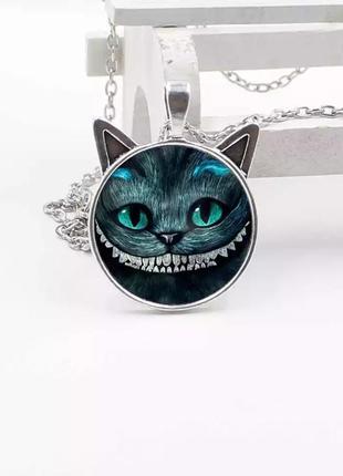 Кулон алиса в стране чудес чеширский кот серебро ожерелье колье с ушками