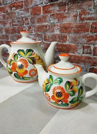 Винтажный набор из двух чайников керамика ссср
