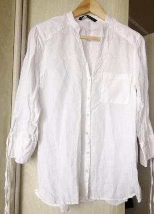 Zara рубашка лен.