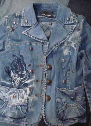 Очень крутой джинсовый пиджак , жакет, куртка 10-121 фото