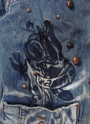 Очень крутой джинсовый пиджак , жакет, куртка 10-122 фото