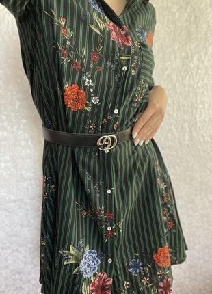 Легкое цветочное платье-рубашка4 фото