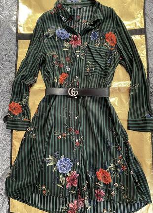 Легкое цветочное платье-рубашка