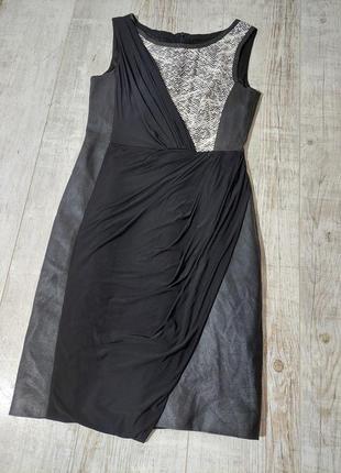Комбинированое платье черное коданое karen millen2 фото