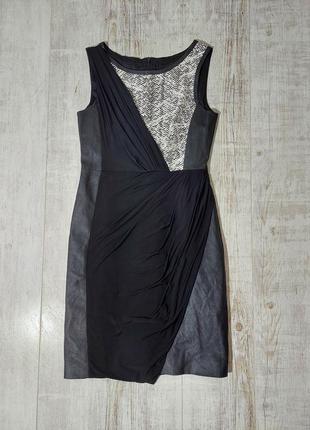 Комбинированое платье черное коданое karen millen
