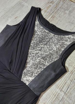 Комбинированое платье черное коданое karen millen4 фото