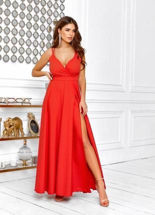 Вечернее платье в пол красное