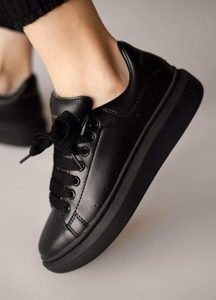 ❤ женские черные кожаные кроссовки adidas x alexander mcqueen, triple black   ❤