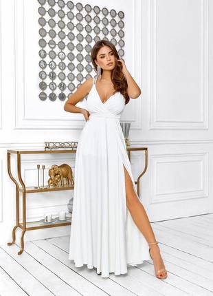 Платье вечернее в пол белое