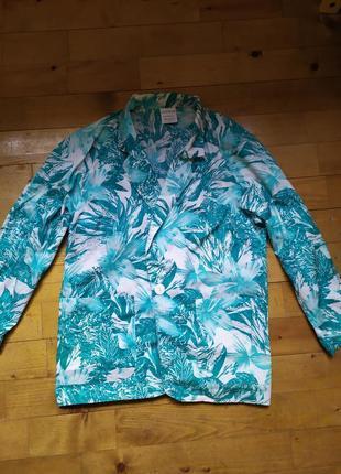 Легкий жакет, пиджак, 100 котон, винтаж, тропический принт