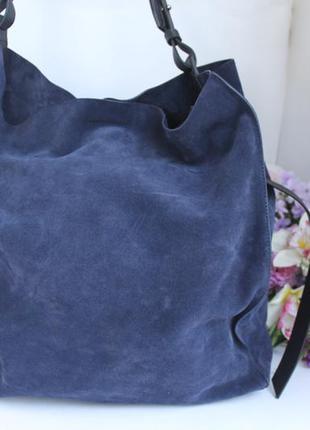 717307eff0ff Эффектная кожаная сумка шоппер, натуральная кожа замша, темно синяя ...