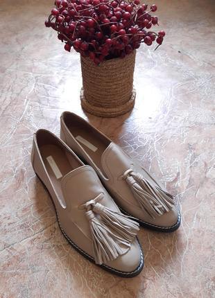 Шикарные кожаные туфли лоферы с кисточками h&m