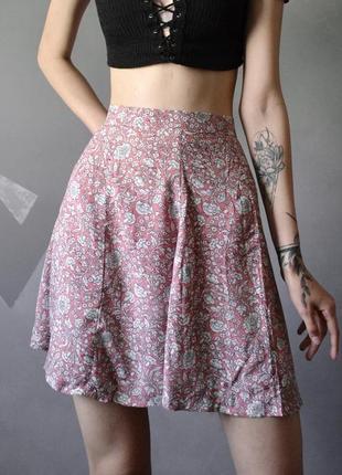 Красивая расклешенная юбка в цветочный принт zebra