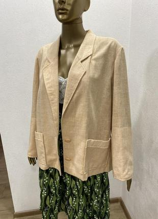 Пиджак нюдовый оверсайз жакет из льна4 фото