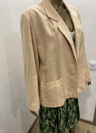 Пиджак нюдовый оверсайз жакет из льна2 фото