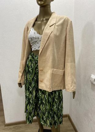 Пиджак нюдовый оверсайз жакет из льна3 фото