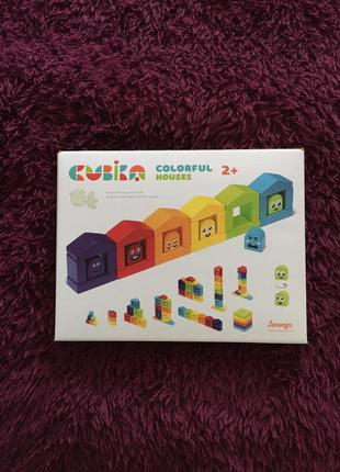 """Cubika. деревянный конструктор """"цветные домики"""""""
