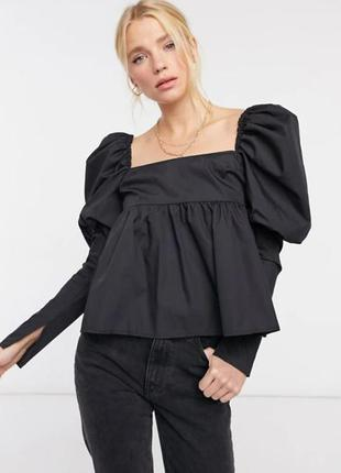 Новый нарядный asos design xs 34 хлопок черный с объемными рукавами буффами