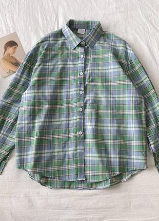 Рубашка в клетку женская фисташка зелёная