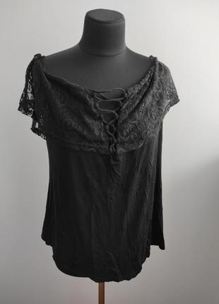 Блузка футболка с гипюровыми рукавами 20 р от rose gal