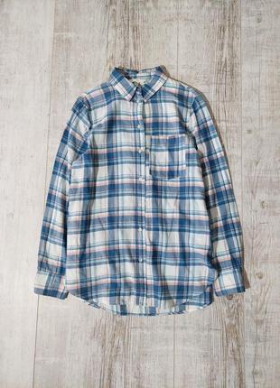 Рубашка хлопковая в клетку голубая h&m