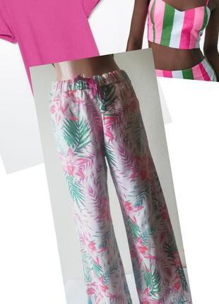 Штаны палаццо.домашние штаны.трендовые широкие штаны. штани тропічний принт. лляные штаны