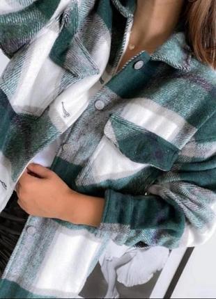 Женская теплая рубашка в клетку2 фото