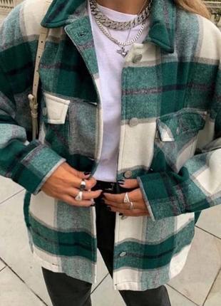 Женская теплая рубашка в клетку3 фото