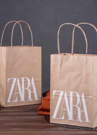 Крафт пакет з логотипом zara