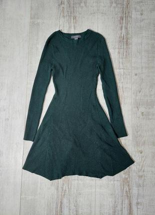 Платье мини в рубчик зеленое