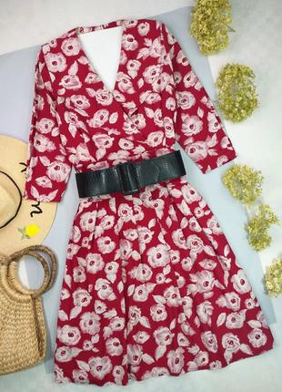 Платье миди красное с имитацией запаха и большими лацканами р.12