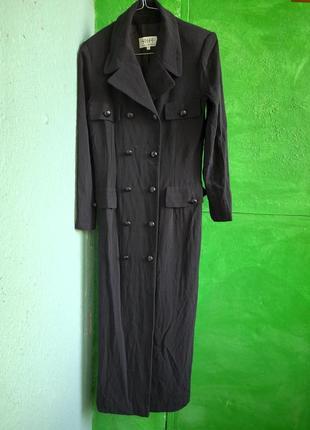 Классический чёрный тренч пальто плащь