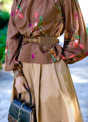 Женственная блуза с объёмными рукавами принт цветочный3 фото